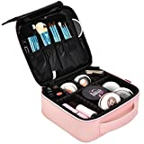 NiceEbag Travel Makeup Bag Portable Makeup Train Case for Women Cosmetic Case Storage Organizer with Adjustable Dividers for Cosmetic Make Up Toolss Toiletry Jewelry Digital accessory,New Rose Gold