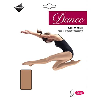 1965879ee9a35 NEW GIRLS SHIMMER FULL FOOT DANCE TIGHTS: Amazon.co.uk: Clothing