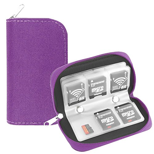 Memory Card Case, WOVTE Portable 8 Pages and 22 Slots SD SDHC MMC CF Micro SD Memory Camera Card Case Holder Pouch Zippered Storage Bag (Purple) - Micro Camera Pouch