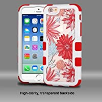 Asmyna Cell Phone Case for Apple Iphone 6s/6 - Ivory White/Transparent Spring Daisies PC Back/Red