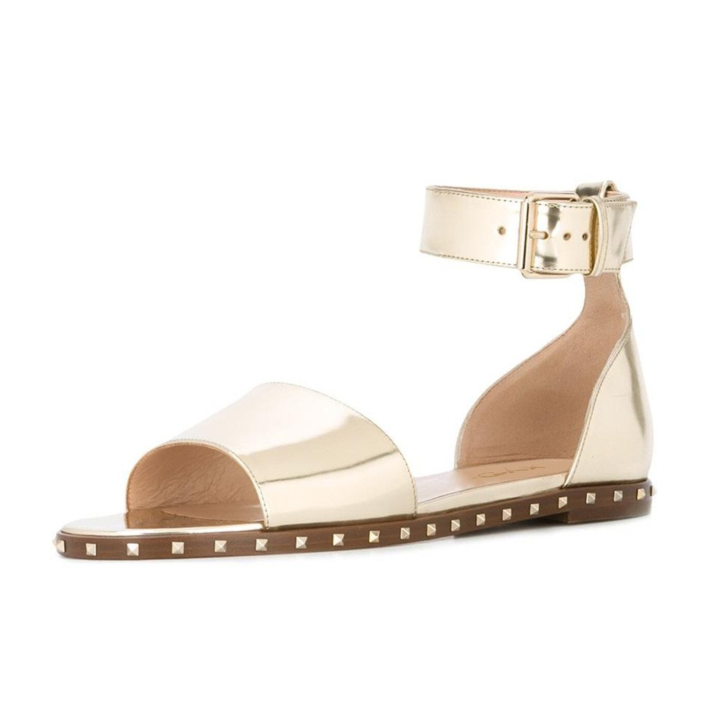 XYD Summer Casual Studded Open Toe Flat Sandals Ankle Strap Dress Slip On Shoes for Women B07142XSW6 8 B(M) US Gold