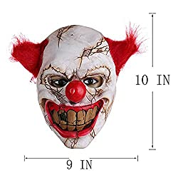 Halloween Latex Scary Clown Mask with Red Hair for Adults and Children,Halloween Costume Party Props Masks Decorations