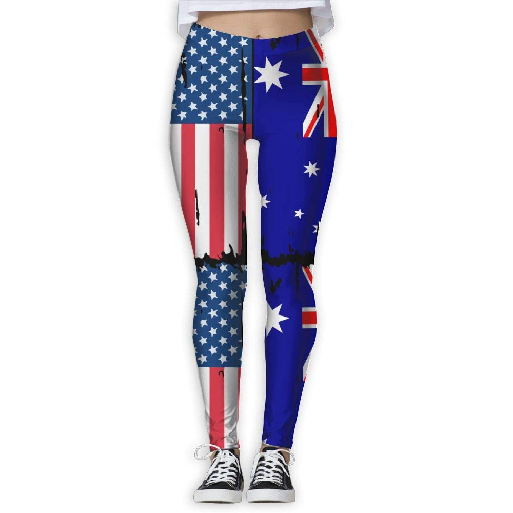 DDCYOGA American Australian Flag Womens Tights Activewear Yoga Pants Bike Running Yoga Pants for Women