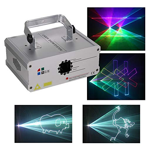 Sumger Professional DMX512 RGB LED Stage Lighting Full Color Animation DJ Disco Laser Scanner Projector Effect party lights illumination Show Light Sound Activated for Festival Bar Club Party (White)