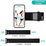 WANPOOL Sport Armband for iPhone ( Black ) - Open-Face Armband / Wristband Holder, Includes Standard Strap To Fit 11''-20'' Arm Circumferences & Extra Small Strap To Fit 7''-12'' … (iPhone 7)