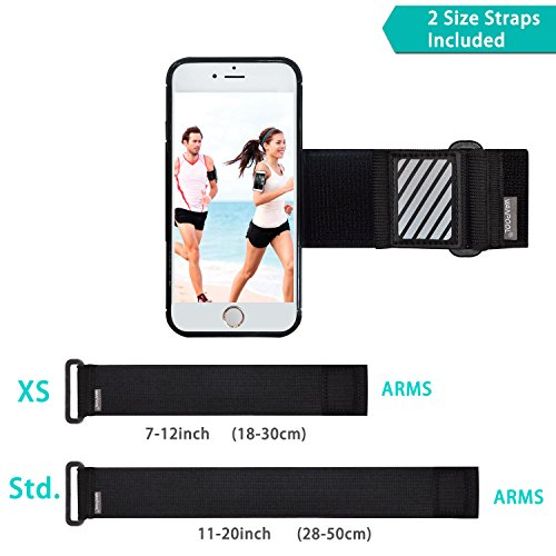 WANPOOL Sport Armband for iPhone ( Black ) - Open-Face Armband / Wristband Holder, Includes Standard Strap To Fit 11''-20'' Arm Circumferences & Extra Small Strap To Fit 7''-12'' … (iPhone 6(s) Plus) by WANPOOL