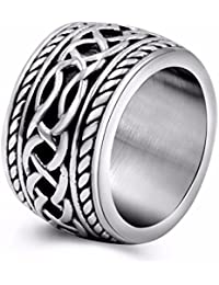 Womens Mens Vintage Stainless Steel Celtic Wedding Bands Prime Wide Band Ring US Size 8 9 10 11 12 13