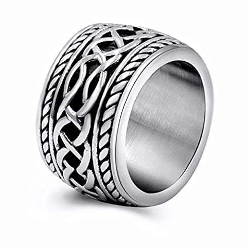 Womens Mens Vintage Stainless Steel Celtic Wedding Bands Prime Wide Band Ring 9 - Heavy Mens Wedding Band