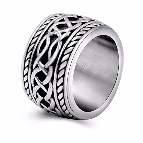 (Womens Mens Vintage Stainless Steel Celtic Wedding Bands Prime Wide Band Ring 9)