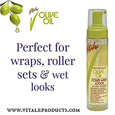 Olive Oil Foam Wrap Hair Lotion, 8 fl oz - Flake-Free Anti-Breakage Styling - for Men & Women - Safe for Color Treated Scalp - Moisturize for All Hair Types By Vitale
