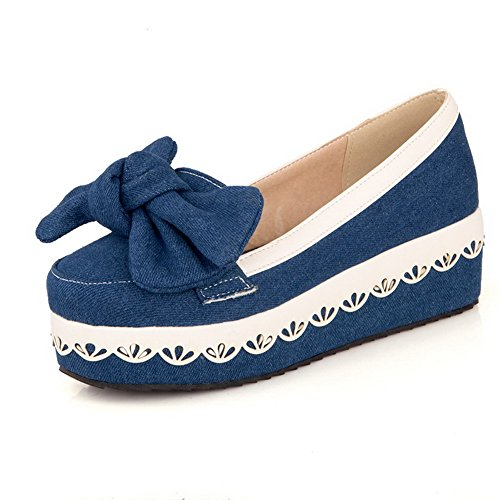 VogueZone009 Women's Fabric Kitten Heels Round Closed Toe Assorted Color Pumps-Shoes Darkblue 9PnQKse