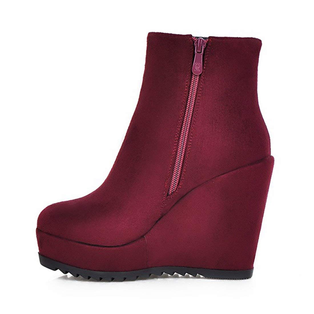 178dbf3e77c9 Vitalo Womens Wedge Platform Ankle Boots High Heel Zip Up Autumn Winter  Boots  Amazon.ca  Shoes   Handbags