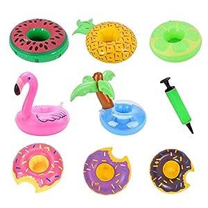 Soporte hinchable para bebidas, diseño de palmera, flamenco, donut ...