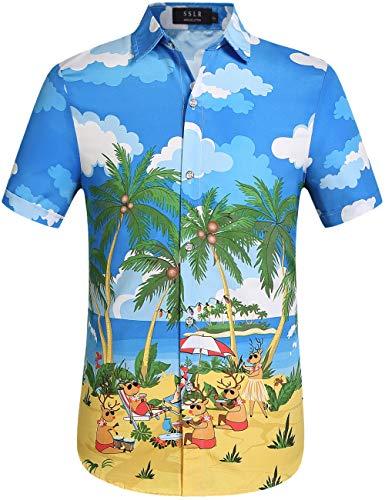 SSLR Men's Xmas Holiday Button Down Ugly Hawaiian Christmas Shirts (Medium, Blue Yellow)