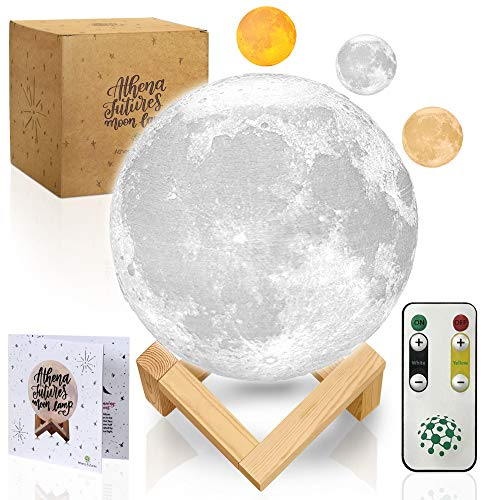 (Moon Lamp Moon Light 3D Moon Lamp - Seamless - 3 Color Moon Night Light with Stand - Mood Lamp Book, Globe, Cool Lamp, USB Charging, with Wooden Stand, Box, Kids, Moonlight LED, 5.9 in)
