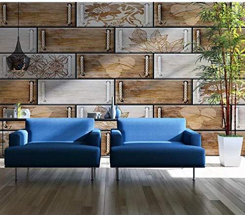(Wallpapervintage Wood Grain Mosaic Pattern Background Wall,350Cmx245Cm)