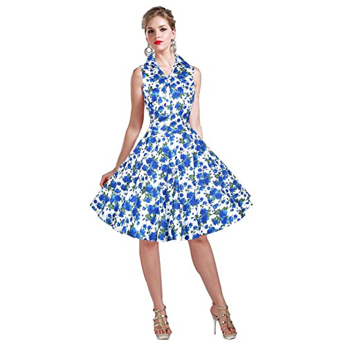 Maggie Tang Dress Blue Rockabilly Vintage Women's Rose 1950S RRwqxrd