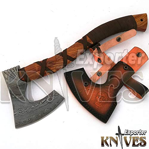 Knives Exporter Damascus Steel Axe/Rose Wood Handle -