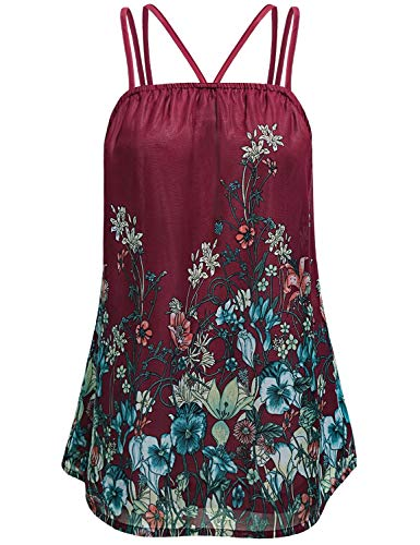 Summer Sleeveless Blouse for Women 2019,Ladies Elegant Boutique Floral Chiffon Cami Fashion Sexy Tank Tops for Leggings Formal Work Casual Fitted Shirts Dressy Pleated Camisoles Plus Size Red XL