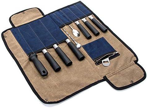 Bolsa para cuchillos de chef, resistente lona encerada, estuche de almacenamiento para cuchillos de chef, 9 ranuras y un bolsillo con cremallera con correa para el hombro: Amazon.es: Hogar