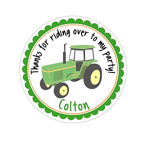 Personalized Customized Birthday Party Favor Thank You Stickers - Green Tractor - Round Labels - Choose Your (John Deere Favor)