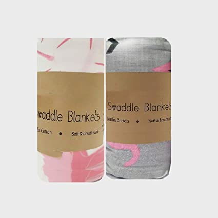 Cottington Lane Baby Swaddle Blanket - Extra-Large Size 120cm x 120cm,  Organic Muslin Cotton, Pack of 2 - Flemingo and Elephant Print Designs  (Pink)