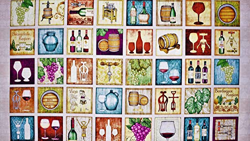 Wine Panel Perfectly Vintage in Light Tan from 100% Premium Quality Cotton Fabric by The Yard