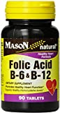 Mason Natural Folic Acid, B-6 & B-12 Tablets 90 ea (Pack of 2)