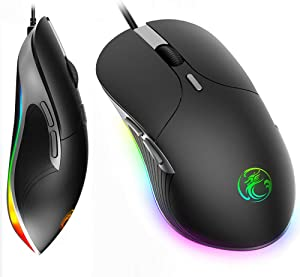 RGB Gaming Mouse Wired, KKUYI USB Computer Gaming Mice with Chroma RGB Lighting/6 DPI Levels/6 Buttons, RGB Gamer Desktop Laptop PC Gaming Mouse with 1.8m Cable for Windows Xbox PS4 Gamer