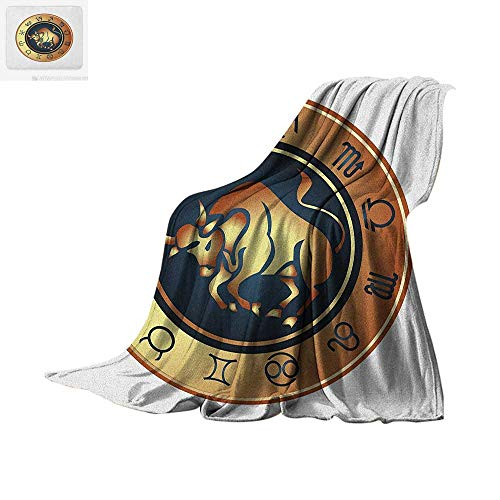 (Zodiac Taurus Custom Design Cozy Flannel Blanket Circle with Twelve Signs Bull Icon in The Middle Future Cosmos Digital Printing Blanket 80