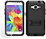 BEYOND CELL BLACK/BLACK RUGGED TRI-SHIELD SOFT SKIN HARD CASE COVER WITH STAND AND SCREEN PROTECTOR FOR BOOST MOBILE SAMSUNG GALAXY PREVAIL LTE SM-G360 (aka VERIZON GALAXY CORE PRIME)