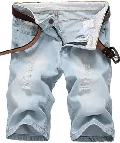 8991c230fd944 IWOLLENCE Men s Fashion Ripped Distressed Straight Fit Denim Shorts with  Hole