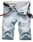 IWOLLENCE Men's Fashion Ripped Distressed Straight Fit Denim Shorts with Hole Light Blue-US 34