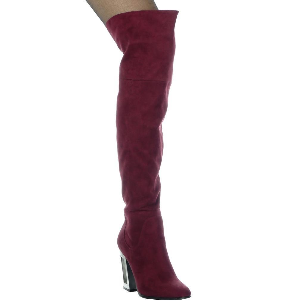 Angkorly - Zapatillas de Moda Botas Altas reversible flexible mujer moderno Talón Tacón ancho alto 10 CM - plantilla Forrada de Piel36 EU|Burdeos
