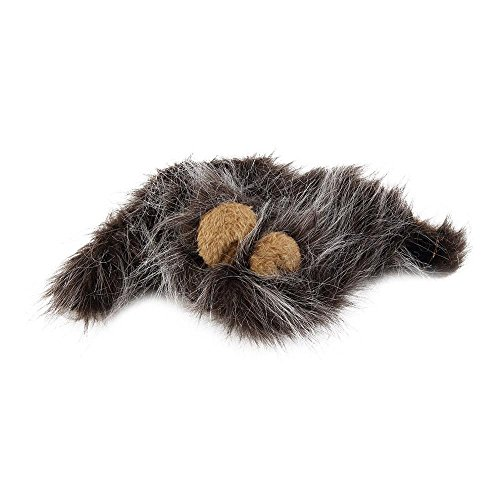 Pet Dog Costume Lions Hair Mane Ears Wig For Cat Halloween Christmas Party Dress Up Costume With Ear Pet Apparel Cat Fancy Dress Dark grey M ()