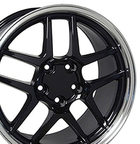 - OE Wheels 18 Inch Fits Chevy Camaro Corvette Pontiac Firebird C5 Z06 Style CV04 Black with Machined Lip 18x10.5 Rim Hollander 5146