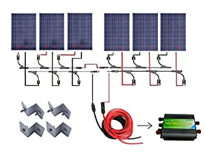 eco worthy 24 volts 600 watts solar power system off grid 6pcs 100w poly crystalline solar panel 45a pwm charge controller 32ft solar cable adapter y