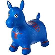 Blue Horse Hopper, Pump Included (Inflatable Space Hopper, Jumping Horse, Ride-on Bouncy Animal)