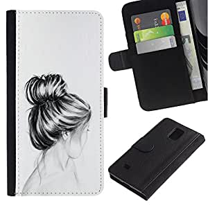 Billetera de Cuero Caso Titular de la tarjeta Carcasa Funda para Samsung Galaxy Note 4 SM-N910 / Bust Hair Head Pencil Drawing Sad / STRONG