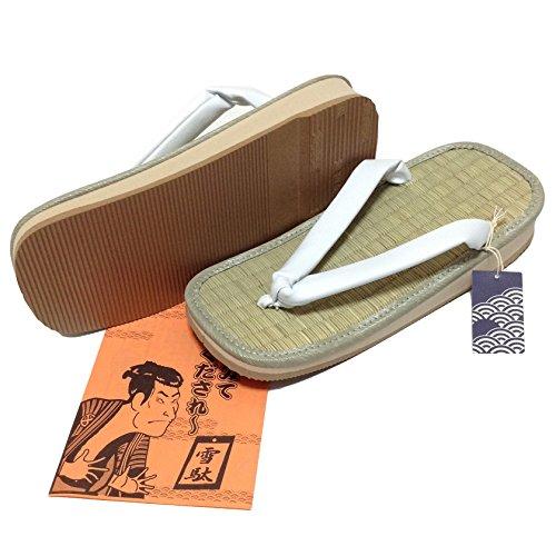 Edoten White Igusa Setta Japanese Tatami Zouri Sandals L