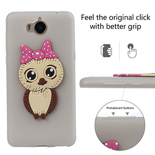 Flexible Scratch Cover Huawei Creative idatog Skin Owl Case Protector Protective 7X Back Gel Cute HD Case Honor 3D Free Shockproof Anti Bumper TPU Cartoon Screen Cover Design Case Silicone Soft White For FFqrHw