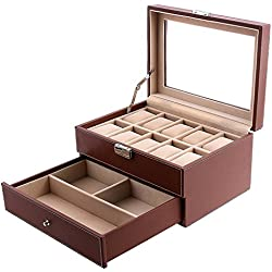 SONGMICS Brown Watch Box Faux Leather Jewelry Case Watch Display Oraganizer Glass Top Lockable UJWB007