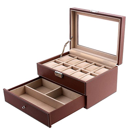 Leather Case Watch Brown - SONGMICS Brown Watch Box Faux Leather Jewelry Case Watch Display Oraganizer Glass Top Lockable UJWB007