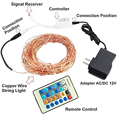HEIOKEY Dimmable 150 LEDs Waterproof Copper Wire LED String Lights,50ft Warm White Starry Light Decorative Rope Ambiance Lighting for Christmas,Weddings,Parties(Remote Controller)