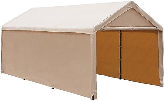 Abba Patio - Cochera abierta resistente con toldo y laterales, de 3 x 6 m y color beige: Amazon.es: Jardín