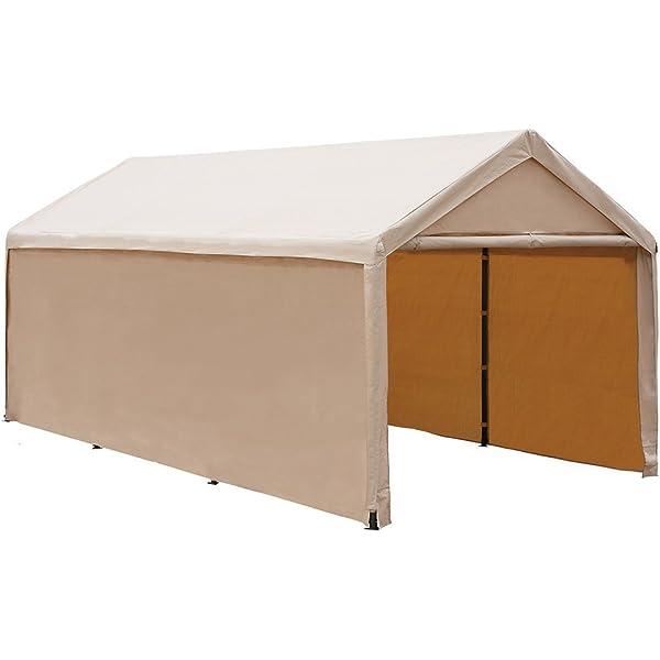 Amazon Com 10 X 17 Portable Carport Car Garages Shelters Heavy Duty 8 Steel Legs White Waterproof Anti Exposure Garden Outdoor