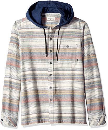 (Billabong Men's Baja Hooded Flannel Shirt Stone)