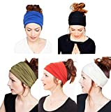 Yoga Headband with Multi Style for Sports Fashion or Travel Pack of 5 (Black Blue Green Red White)