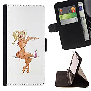 BullDog Case - FOR/LG G2 D800 / - / pin up model girl woman drawing blonde /- Monedero de cuero de la PU Llevar cubierta de la caja con el ID Credit Card Slots Flip funda de cuer