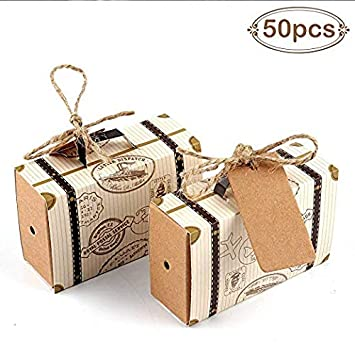 Lote de 50 Cajas para Detalles de Boda Maleta + 50 Pcs Etiquetas Kraft Vintage - Cajitas Originales Travel Viaje para Regalos y Detalles de Bodas, ...